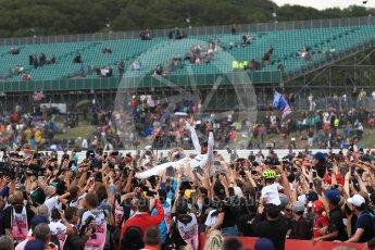 World © Octane Photographic Ltd. Formula 1 - British Grand Prix - Sunday - Race Podium. Lewis Hamilton - Mercedes AMG Petronas F1 W08 EQ Energy+ crowd surfs. Silverstone, UK. Sunday 16th July 2017. Digital Ref: 1893LB1D5514