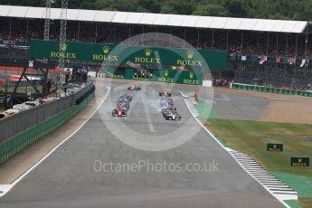 World © Octane Photographic Ltd. Formula 1 - British Grand Prix - Sunday - Race. Lewis Hamilton - Mercedes AMG Petronas F1 W08 EQ Energy+ leads the start. Silverstone, UK. Sunday 16th July 2017. Digital Ref: 1892LB1D3752