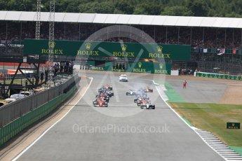 World © Octane Photographic Ltd. Formula 1 - British Grand Prix - Sunday - Race. Lewis Hamilton - Mercedes AMG Petronas F1 W08 EQ Energy+ leads the start. Silverstone, UK. Sunday 16th July 2017. Digital Ref: 1892LB1D3803