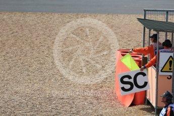 World © Octane Photographic Ltd. Formula 1 - British Grand Prix - Sunday - Race. Safety card boards. Silverstone, UK. Sunday 16th July 2017. Digital Ref: 1892LB2D0005
