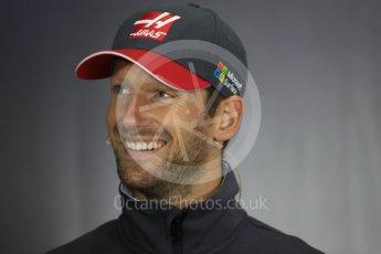 World © Octane Photographic Ltd. Formula 1 - British Grand Prix - Thursday - FIA Driver Press Conference. Romain Grosjean - Haas F1 Team. Silverstone, UK. Thursday 13th July 2017. Digital Ref: 1877LB1D6977