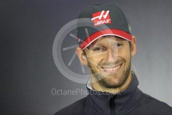 World © Octane Photographic Ltd. Formula 1 - British Grand Prix - Thursday - FIA Driver Press Conference. Romain Grosjean - Haas F1 Team. Silverstone, UK. Thursday 13th July 2017. Digital Ref: 1877LB1D7188