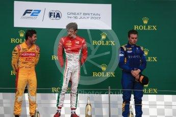 World © Octane Photographic Ltd. FIA Formula 2 (F2) - Race 1. Charles Leclerc (1st) - Prema Racing, Norman Nato (2nd) – Pertamina Arden and Oliver Rowland (3rd) – DAMS. British Grand Prix, Silverstone, UK. Saturday 15th July 2017. Digital Ref: 1887LB1D2365