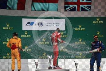World © Octane Photographic Ltd. FIA Formula 2 (F2) - Race 1. Charles Leclerc (1st) - Prema Racing, Norman Nato (2nd) – Pertamina Arden and Oliver Rowland (3rd) – DAMS. British Grand Prix, Silverstone, UK. Saturday 15th July 2017. Digital Ref: 1887LB1D2440