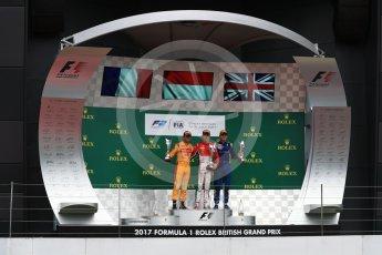 World © Octane Photographic Ltd. FIA Formula 2 (F2) - Race 1. Charles Leclerc (1st) - Prema Racing, Norman Nato (2nd) – Pertamina Arden and Oliver Rowland (3rd) – DAMS. British Grand Prix, Silverstone, UK. Saturday 15th July 2017. Digital Ref: 1887LB1D2519