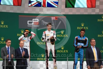 World © Octane Photographic Ltd. GP3 - Race 1. George Russell (1st) and Anthoine Hubert (2nd) - ART Grand Prix and Allessio Lorando (3rd) – Jenzer Motorsport. British Grand Prix - Silverstone, UK. Saturday 15th July 2017. Digital Ref: 1879LB1D2661