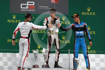 World © Octane Photographic Ltd. GP3 - Race 1. George Russell (1st) and Anthoine Hubert (2nd) - ART Grand Prix and Allessio Lorando (3rd) – Jenzer Motorsport. British Grand Prix - Silverstone, UK. Saturday 15th July 2017. Digital Ref: 1879LB1D2767
