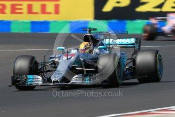 World © Octane Photographic Ltd. Formula 1 - Hungarian Grand Prix Practice 3. Lewis Hamilton - Mercedes AMG Petronas F1 W08 EQ Energy+. and Sergio Perez - Sahara Force India VJM10. Hungaroring, Budapest, Hungary. Saturday 29th July 2017. Digital Ref: