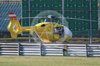 World © Octane Photographic Ltd. Formula 1 - Hungarian in-season testing. Eurocopter EC135 T2 medical helicopter OE-XEI. Hungaroring, Budapest, Hungary. Tuesday 1st August 2017. Digital Ref:1916CB1L2811