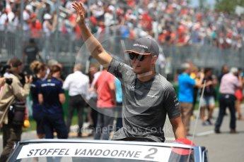 World © Octane Photographic Ltd. Formula 1 - Canadian Grand Prix - Sunday Drivers Parade & Grid. Stoffel Vandoorne - McLaren Honda MCL32. Circuit Gilles Villeneuve, Montreal, Canada. Sunday 11th June 2017. Digital Ref: 1856LB1D7407