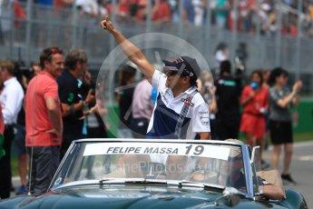 World © Octane Photographic Ltd. Formula 1 - Canadian Grand Prix - Sunday Drivers Parade & Grid. Felipe Massa - Williams Martini Racing FW40. Circuit Gilles Villeneuve, Montreal, Canada. Sunday 11th June 2017. Digital Ref: 1856LB1D7454