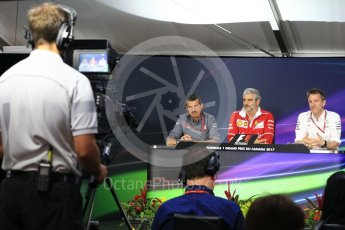 World © Octane Photographic Ltd. Formula 1 - Canadian Grand Prix - Friday FIA Team Personnel Press Conference. Guenther Steiner - Team Principal of Haas F1 Team, Maurizio Arrivabene – Managing Director and Team Principal of Scuderia Ferrari and James Allison - Technical Director of Mercedes-AMG Petronas Motorsport. Circuit Gilles Villeneuve, Montreal, Canada. Friday 9th June 2017. Digital Ref: 1852LB2D2676