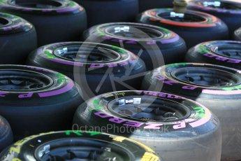 World © Octane Photographic Ltd. Formula 1 - Monaco Grand Prix Setup. McLaren Honda MCL32 wheels and Pirelli tyres. Monaco, Monte Carlo. Wednesday 24th May 2017. Digital Ref: