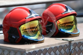 World © Octane Photographic Ltd. Formula 1 - Monaco Grand Prix Setup. Fire marshals helmets. Monaco, Monte Carlo. Wednesday 24th May 2017. Digital Ref: