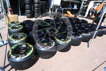 World © Octane Photographic Ltd. Formula 1 - Monaco Grand Prix Setup. McLaren Honda MCL32 wheels and Pirelli tyre selection. Monaco, Monte Carlo. Wednesday 24th May 2017. Digital Ref: