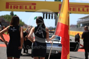 World © Octane Photographic Ltd. Formula 1 - Spanish Grand Prix Grid. Spanish flag. Circuit de Barcelona - Catalunya, Spain. Sunday 14th May 2017. Digital Ref:1824LB1D3707