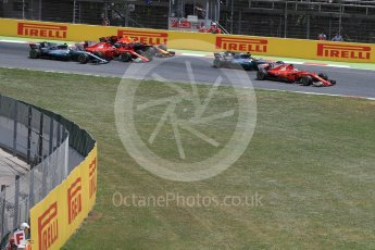 World © Octane Photographic Ltd. Formula 1 - Spanish Grand Prix Race. First lap drama, Vettel leads Hamilton ahead of Raikkonen, Verstappen and Bottas. Circuit de Barcelona - Catalunya, Spain. Sunday 14th May 2017. Digital Ref:1825LB1D3821