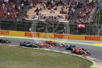 World © Octane Photographic Ltd. Formula 1 - Spanish Grand Prix Race. First lap drama, Vettel leads Hamilton ahead of Raikkonen, Verstappen and Bottas. Circuit de Barcelona - Catalunya, Spain. Sunday 14th May 2017. Digital Ref:1825LB1D3825