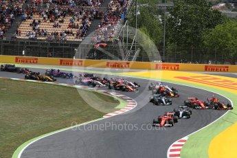World © Octane Photographic Ltd. Formula 1 - Spanish Grand Prix Race. First lap drama, Vettel leads Hamilton ahead of Bottas and Raikkonen and Verstappen make contact and leave the track. Circuit de Barcelona - Catalunya, Spain. Sunday 14th May 2017. Digital Ref:1825LB1D3835