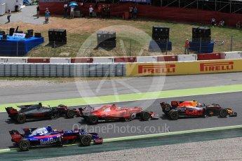 World © Octane Photographic Ltd. Formula 1 - Spanish Grand Prix Race. First lap drama as Raikkonen and Verstappen rejoin the track next to Ocon and Hulkenberg. Circuit de Barcelona - Catalunya, Spain. Sunday 14th May 2017. Digital Ref:1825LB1D3871