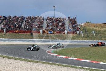 World © Octane Photographic Ltd. Formula 1 - Spanish Grand Prix Race. Lewis Hamilton and - Mercedes AMG Petronas F1 W08 EQ Energy+ followed by Daniel Ricciardo - Red Bull Racing RB13. Circuit de Barcelona - Catalunya, Spain. Sunday 14th May 2017. Digital Ref:1825LB1D3918
