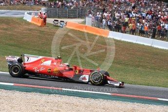 World © Octane Photographic Ltd. Formula 1 - Spanish Grand Prix Race. Kimi Raikkonen with broken steering - Scuderia Ferrari SF70H. Circuit de Barcelona - Catalunya, Spain. Sunday 14th May 2017. Digital Ref:1825LB1D3994