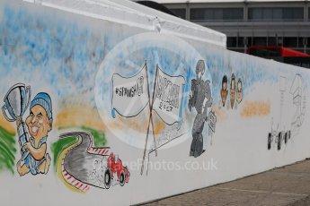 World © Octane Photographic Ltd. Formula 1 - Spanish Grand Prix Race. Spanish GP cartoon wall. Circuit de Barcelona - Catalunya, Spain. Sunday 14th May 2017. Digital Ref:1825LB1D4425