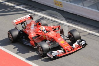 World © Octane Photographic Ltd. Formula 1 - Winter Test 1. Sebastian Vettel - Scuderia Ferrari SF70H. Circuit de Barcelona-Catalunya. Monday 27th February 2017. Digital Ref :1780CB1D2718