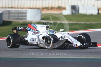 World © Octane Photographic Ltd. Formula 1 winter test 1, Williams martini Racing FW40 – Felipe Massa. Circuit de Barcelona-Catalunya. Monday 27th February 2017. Digital Ref :1780CB1D6490