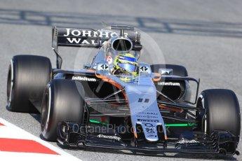 World © Octane Photographic Ltd. Sahara Force India VJM10 – Sergio Perez. Formula 1 winter test 1, Circuit de Barcelona-Catalunya. Monday 27th February 2017. Digital Ref :1780CB1D6582