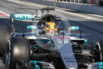 World © Octane Photographic Ltd. Formula 1 - Winter Test 1. Lewis Hamilton - Mercedes AMG Petronas F1 W08 EQ Energy+. Circuit de Barcelona-Catalunya. Monday 27th February 2017. Digital Ref : 1780LB1D8540