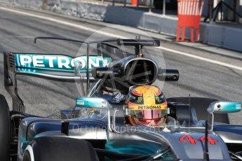 World © Octane Photographic Ltd. Formula 1 - Winter Test 1. Lewis Hamilton - Mercedes AMG Petronas F1 W08 EQ Energy+. Circuit de Barcelona-Catalunya. Monday 27th February 2017. Digital Ref : 1780LB1D8656