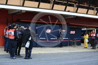 World © Octane Photographic Ltd. Formula 1 - Winter Test 1. Media wait for Daniel Ricciardo - Red Bull Racing RB13. Circuit de Barcelona-Catalunya. Monday 27th February 2017. Digital Ref : 1780LB5D7642