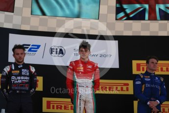 World © Octane Photographic Ltd. FIA Formula 2 (F2) - Race 1. Charles Leclerc – Prema Racing (1st), Luca Ghiotto – Russian Time (2nd) and Oliver Rowland – DAMS (3rd). Circuit de Barcelona - Catalunya, Spain. Friday 12th May 2017. Digital Ref:1819LB1D2441