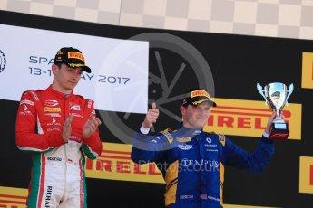 World © Octane Photographic Ltd. FIA Formula 2 (F2) - Race 1. Charles Leclerc – Prema Racing (1st) and Oliver Rowland – DAMS (3rd). Circuit de Barcelona - Catalunya, Spain. Friday 12th May 2017. Digital Ref:1819LB1D2461