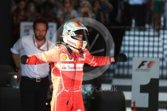 World © Octane Photographic Ltd. Formula 1 - Australian Grand Prix - Podium. Sebastian Vettel - Scuderia Ferrari SF70H. Albert Park Circuit. Sunday 26th March 2017. Digital Ref: 1803LB1D6976