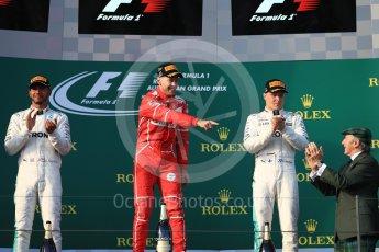World © Octane Photographic Ltd. Formula 1 - Australian Grand Prix - Podium. Sebastian Vettel - Scuderia Ferrari SF70H, Lewis Hamilton and Valtteri Bottas - Mercedes AMG Petronas F1 W08 EQ Energy+. Albert Park Circuit. Sunday 26th March 2017. Digital Ref: 1803LB1D7366