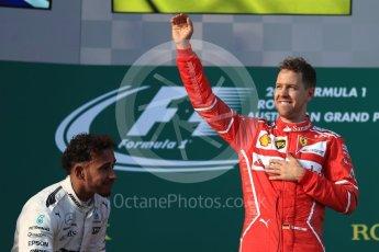 World © Octane Photographic Ltd. Formula 1 - Australian Grand Prix - Podium. Sebastian Vettel - Scuderia Ferrari SF70H. Albert Park Circuit. Sunday 26th March 2017. Digital Ref: 1803LB1D7453
