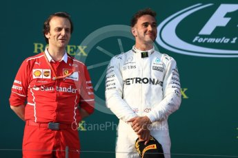 World © Octane Photographic Ltd. Formula 1 - Australian Grand Prix - Podium. Lewis Hamilton - Mercedes AMG Petronas F1 W08 EQ Energy+. Albert Park Circuit. Sunday 26th March 2017. Digital Ref: 1803LB1D7495