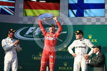World © Octane Photographic Ltd. Formula 1 - Australian Grand Prix - Podium. Sebastian Vettel - Scuderia Ferrari SF70H, Lewis Hamilton and Valtteri Bottas - Mercedes AMG Petronas F1 W08 EQ Energy+. Albert Park Circuit. Sunday 26th March 2017. Digital Ref: 1803LB1D7546