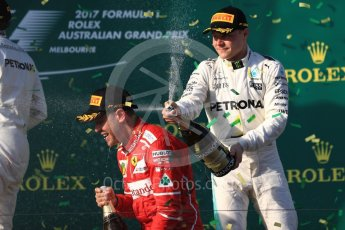World © Octane Photographic Ltd. Formula 1 - Australian Grand Prix - Podium. Sebastian Vettel - Scuderia Ferrari SF70H. Albert Park Circuit. Sunday 26th March 2017. Digital Ref: 1803LB1D7763