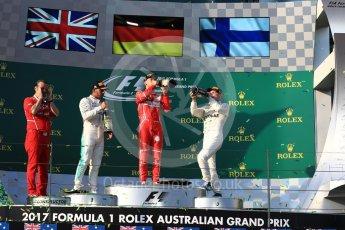 World © Octane Photographic Ltd. Formula 1 - Australian Grand Prix - Podium. Sebastian Vettel - Scuderia Ferrari SF70H, Lewis Hamilton and Valtteri Bottas - Mercedes AMG Petronas F1 W08 EQ Energy+. Albert Park Circuit. Sunday 26th March 2017. Digital Ref: 1803LB1D7839