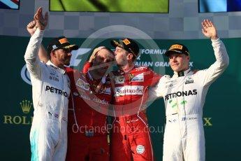 World © Octane Photographic Ltd. Formula 1 - Australian Grand Prix - Podium. Sebastian Vettel - Scuderia Ferrari SF70H, Lewis Hamilton and Valtteri Bottas - Mercedes AMG Petronas F1 W08 EQ Energy+. Albert Park Circuit. Sunday 26th March 2017. Digital Ref: 1803LB1D7866