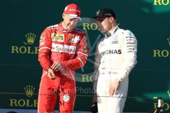 World © Octane Photographic Ltd. Formula 1 - Australian Grand Prix - Podium. Sebastian Vettel - Scuderia Ferrari SF70H and Valtteri Bottas - Mercedes AMG Petronas F1 W08 EQ Energy+. Albert Park Circuit. Sunday 26th March 2017. Digital Ref: 1803LB1D8003