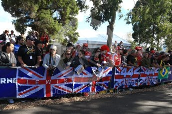 World © Octane Photographic Ltd. Formula 1 - Australian Grand Prix - Thursday - Lewis Hamilton Fans on the Melbourne Walk. Albert Park Circuit. Thursday 23rd March 2017. Digital Ref: 1789LB2D3970