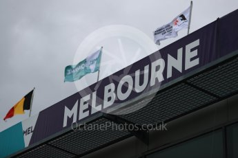 World © Octane Photographic Ltd. Formula 1 - Australian Grand Prix - Wednesday Setup. Melbourne signage with F1 flags. Albert Park Circuit. Wednesday 22nd March 2017. Digital Ref: 1788LB1D7795