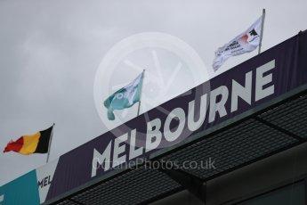 World © Octane Photographic Ltd. Formula 1 - Australian Grand Prix - Wednesday Setup. Melbourne signage with F1 flags. Albert Park Circuit. Wednesday 22nd March 2017. Digital Ref: 1788LB1D7798