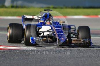 World © Octane Photographic Ltd. Formula 1 - Winter Test 2. Pascal Wehrlein – Sauber F1 Team C36. Circuit de Barcelona-Catalunya. Tuesday 7th March 2017. Digital Ref :1784CB1D0393
