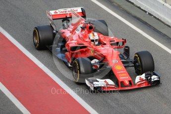 World © Octane Photographic Ltd. Formula 1 - Winter Test 2. Sebastian Vettel - Scuderia Ferrari SF70H. Circuit de Barcelona-Catalunya. Tuesday 7th March 2017. Digital Ref : 1784CB1D1345