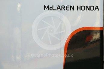 World © Octane Photographic Ltd. Formula 1 - Winter Test 2. McLaren Honda garage boards. Circuit de Barcelona-Catalunya. Tuesday 7th March 2017. Digital Ref :1784CB1D5052